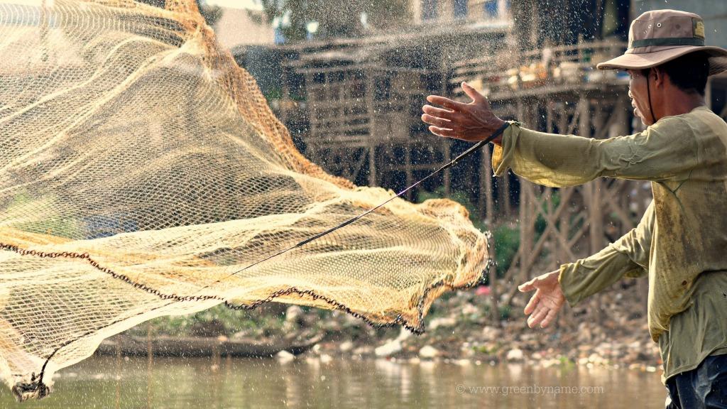 Kampong Cham ~ Mekong ~ Fisherman ~ Cambodia